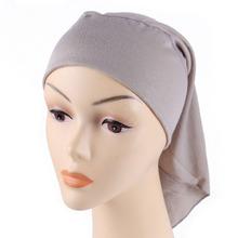 2016New Brand Cotton Grey Muslim Hijab Shawl Caps Islamic Bonnet Famme Mini Underscarf brand scarf winter scarf designer scarf(China (Mainland))