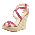 Made to order Peach Red Wedges High Heels Custom Made Handmade Ladies Shoes Ankle Back Strap