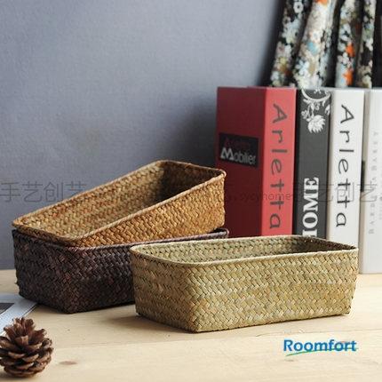 Natural life sea grass sundries cosmetics laundry cookies storage box basket hamper tray rattan willow wicker multi-function(Hong Kong)