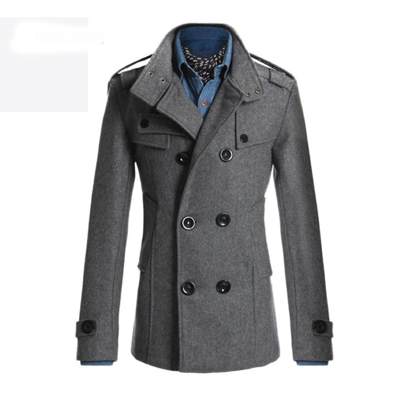 New Style 2016 Winter Casual Double Breasted Coat Men Stand Collar Slim Fit Long Trench Coat Mens Wool Pea Coat Manteau Homme(China (Mainland))