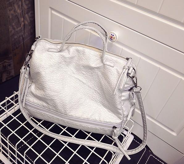 Medium motorcycle bag tassel work fashion shoulder bag punk women messenger bags zippers handbag Water washed leather sliver 370(China (Mainland))