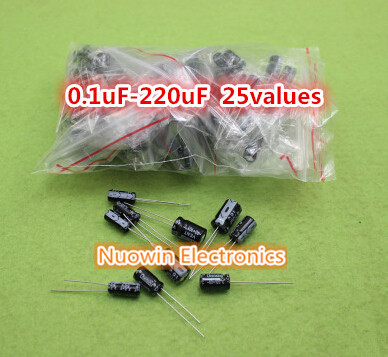 Гаджет  Free shipping 225Pcs 25 Values 0.1uF-220uF Electrolytic Capacitors Assortment Kit Set None Электронные компоненты и материалы