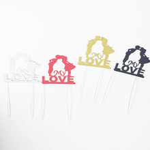 Buy 4pcs/lot Bride&Groom Cupcake Glitter Topper Birthday Party Supplies Cake Accessories Wedding Cake Flag Cake Baking Party Supply for $1.79 in AliExpress store