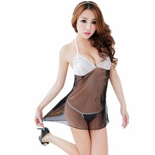 Promation  Women's Sexy Lingerie Lace Dress Underwear Babydoll Sleepwear+G-string FreeShipping