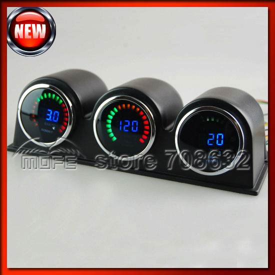 "Original Logo 2 inch"" 52mm 20 LCD Wideband Digital 3 Auto Car Gauges + Gauge Pod Boost Water Temp Oil Pressure"""