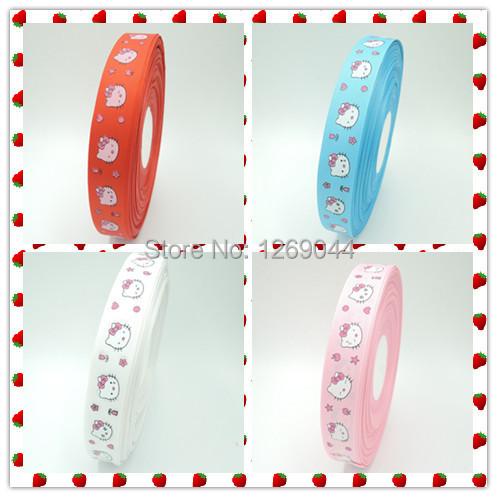 4 color 1'' (25mm) hello kitty printed grosgrain ribbons cartoon ribbon DIY hair bows 8 yards(China (Mainland))