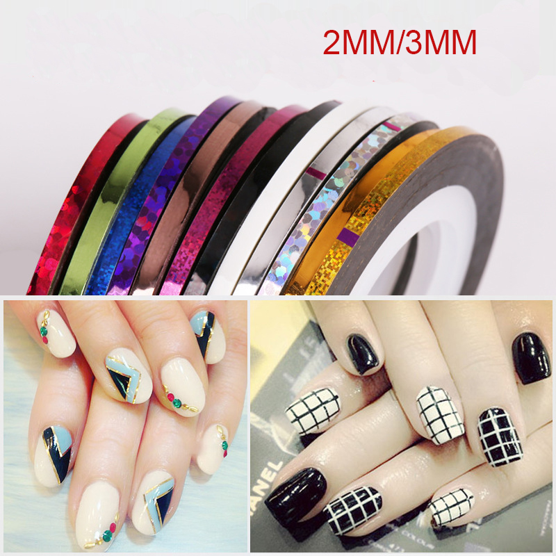 8Pcs Bag 2mm 3mm Mixed Colors Radium Nail Line Stickers Roll Striping Tape Line Nail Art