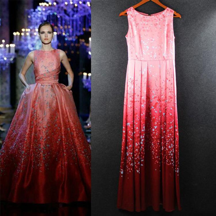 2015 Red Sleeveless Print Formal Celebrity Dress Women Real Photo Maxi Long Runway Summer 429 - Personal Wardrobe store