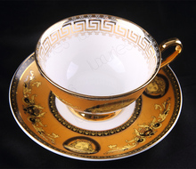Top Quality Gold Ceramics Bone China Coffee Cup Set Ceramic Tea Cups And Mugs with Saucer