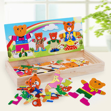 Cartoon bear change clothes wooden puzzles Montessori Educational Dress Jigsaw Toy for Children boys girls brinquedos LF089(China (Mainland))