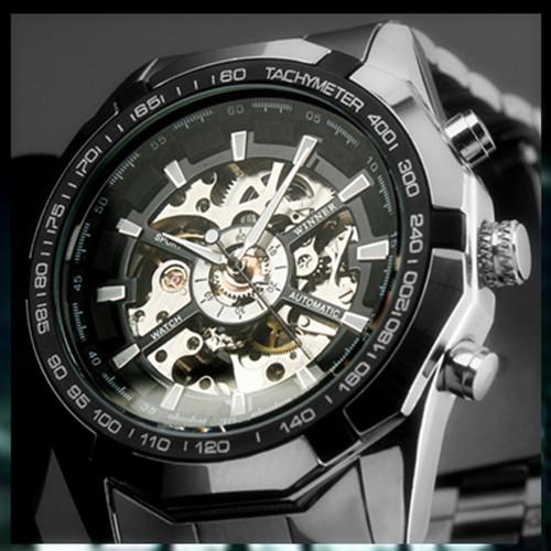Brand NEW 2014 Steampunk Clock Mens Automatic Mechanical Men Wrist Watch Military Style Men Wristwatches(China (Mainland))