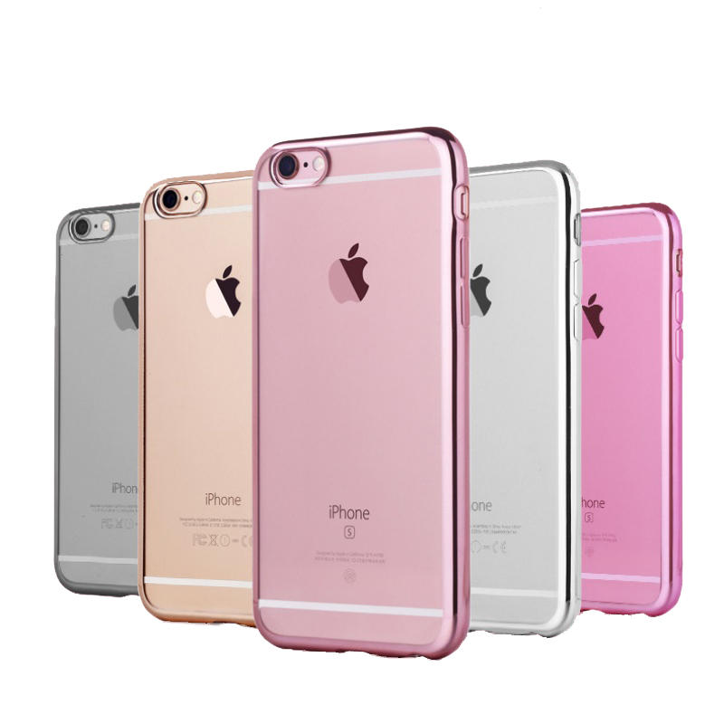 Soft TPU Electroplating Clear Transparent Case Back Cover for iPhone 6/6s 6 Plus/6s Plus(China (Mainland))