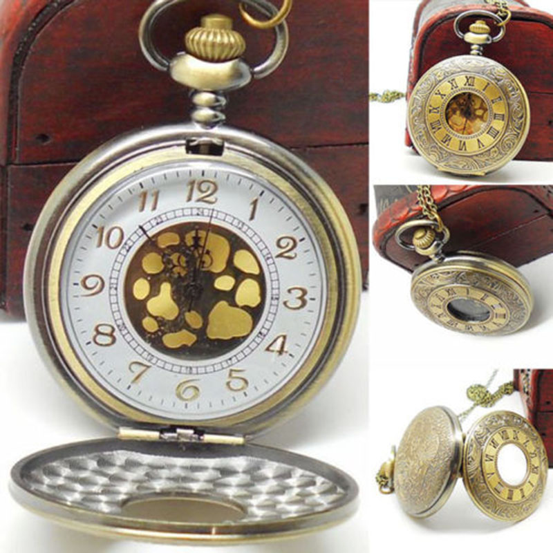 2015 Newest Bronze Jewelry Watches Steam punk Fob watch Quartz Necklace Pendant Chain Pocket Watch