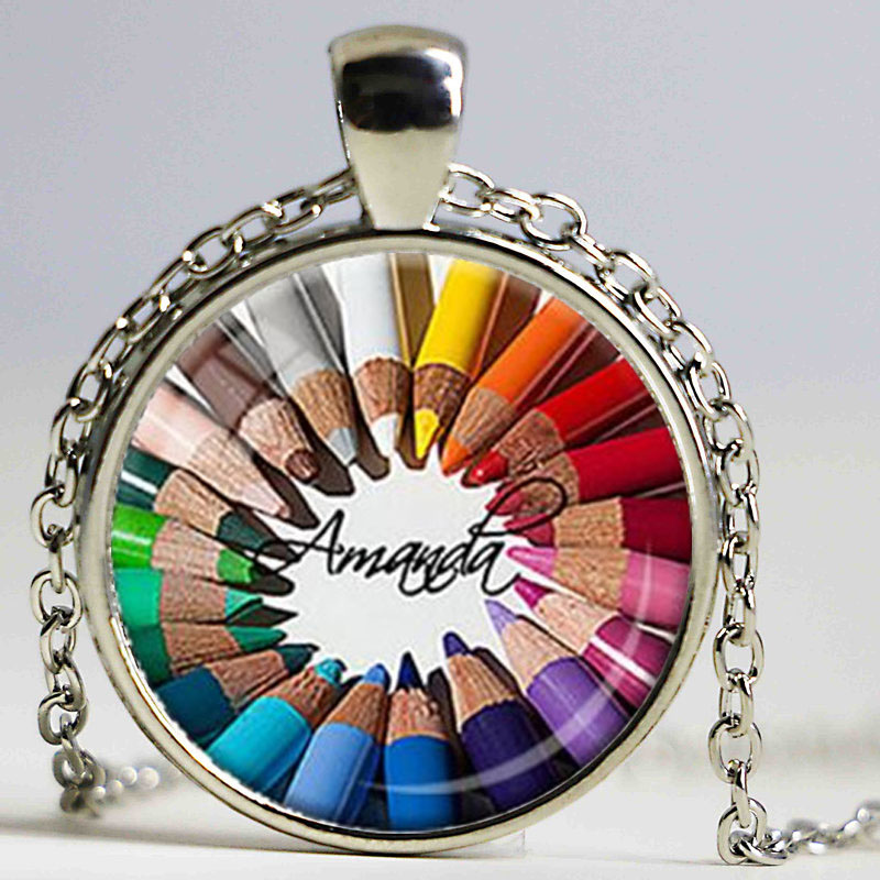 Artist Pendant Customized Personalized Art Necklace Gift for Artist Gift Rainbow Colors Colored Pencil Pendant Art Teacher Gift(China (Mainland))