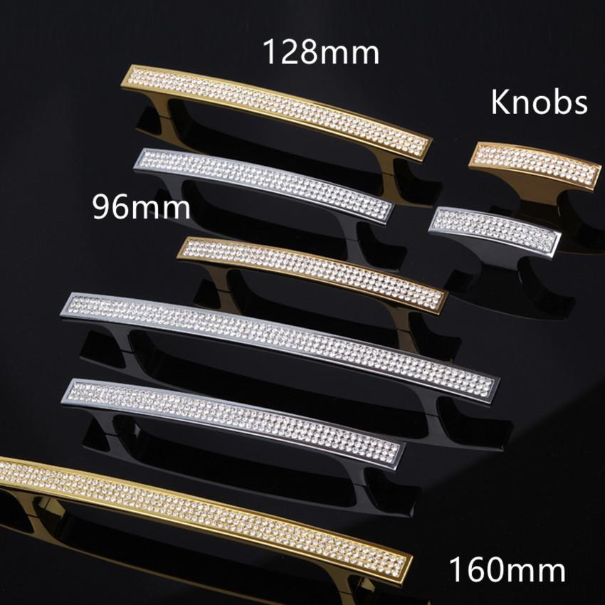 96mm 128mm 160mm Top Quality Glass Diamond Handles silver godern Wine Cabinet Dresser wardrobe Drawer handles pulls knob crystal(China (Mainland))