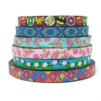 3/8'' 10mm 10y/lot  HOT new width flower/geometric/sign/sheep Woven Jacquard Ribbon dog chain accessories KTZD16040105