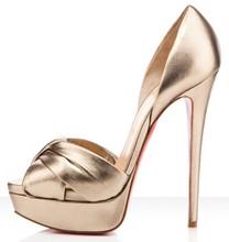 2013 Stylish Elegant Gold Fish Toe Women Wedding Party Stiletto  Knot Lady High Heels(China (Mainland))
