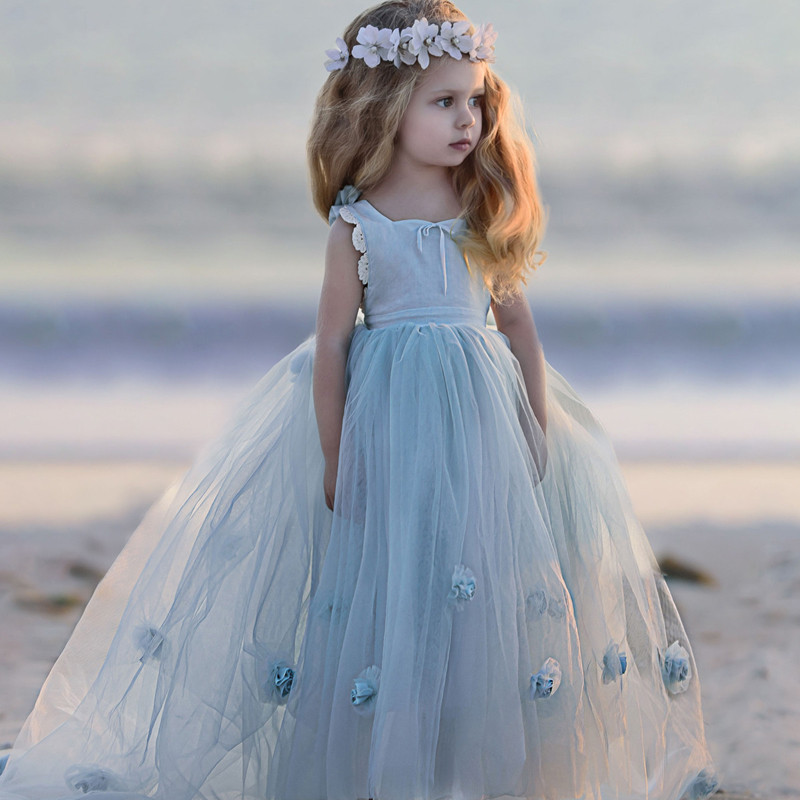 2017 New Hot Flower Girl Dress Lavender Party Formal Sleeveless Princess Pageant Gowns Flower Royal Train For Weddings Vestidos