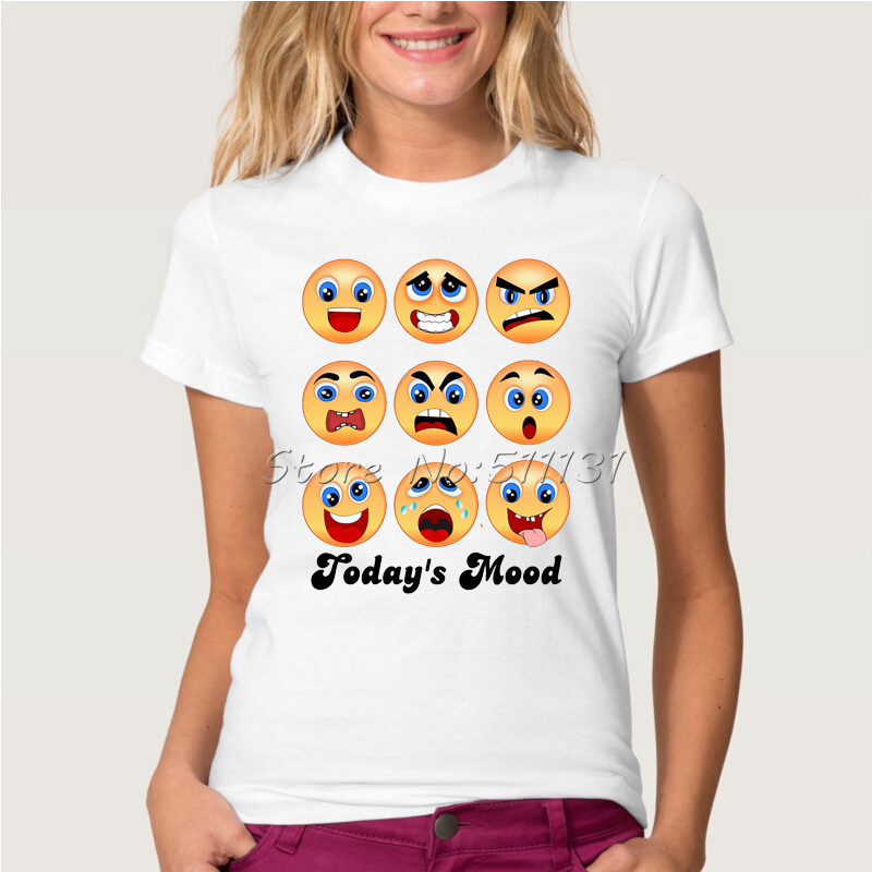 2016 Fashion Brand Cartoon Emoji Smile Printed T Shirt Summer Women/Ladies mood swing t shirt Funny Cool Short Sleeve Tee Tops(China (Mainland))