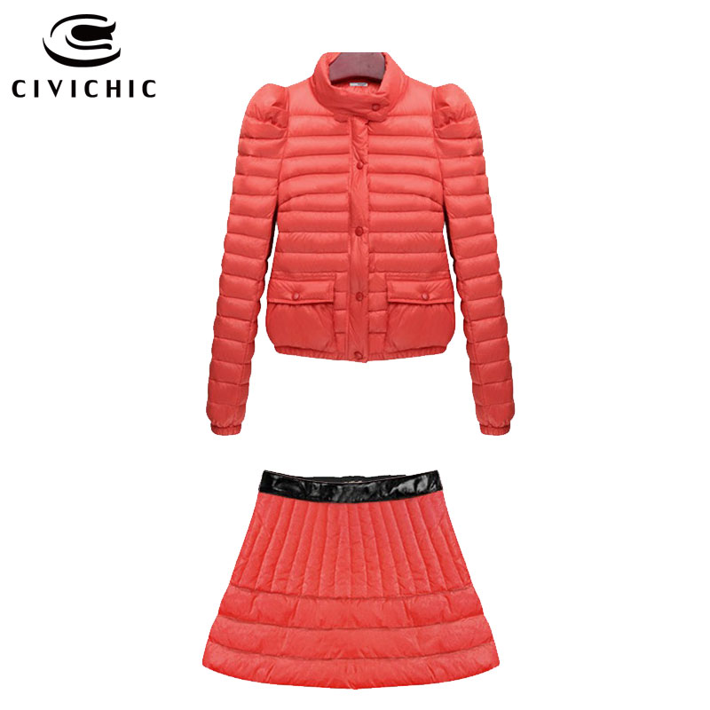 CIVICHIC New Fashion Woman Elegant Warm Set Down Jacket Skirt 2 Pcs Slim Eiderdown Top Wear Princess Skirts Outer Clothing DC540(China (Mainland))