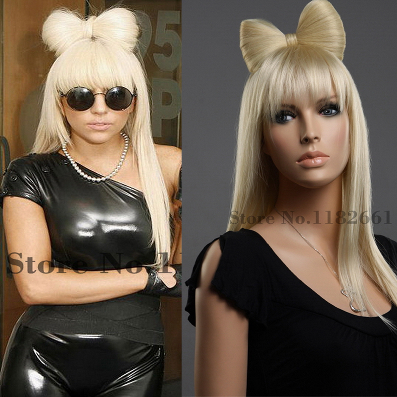 23inch Good Sale Lady GaGa Long Straight Wig With Bangs & Butterfly Knot Top Quality Blonde Hair For White Women Free Shiping(China (Mainland))