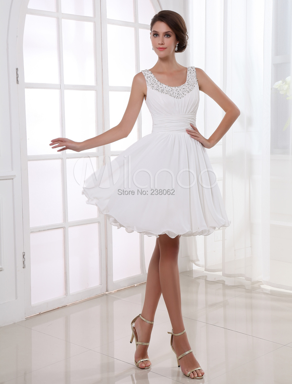 2015 High Quality White Short Chiffon Prom Dresses Beadin Formal Vestidos De Festa Evening Dress Party Dress Prom Gowns(China (Mainland))