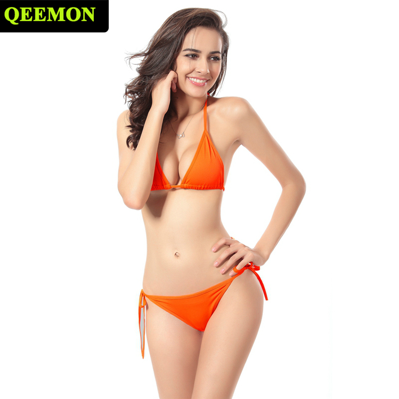 Qeemon 11 Colors Sexy Women Swimsuit Micro Bikini Set Bathing Suits with Halter Strap Swimwear Brazilian Bottom Bikini Sets(China (Mainland))