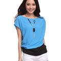 Women s Loose Splicing Short Sleeve Chiffon T Shirt Tops With Necklace