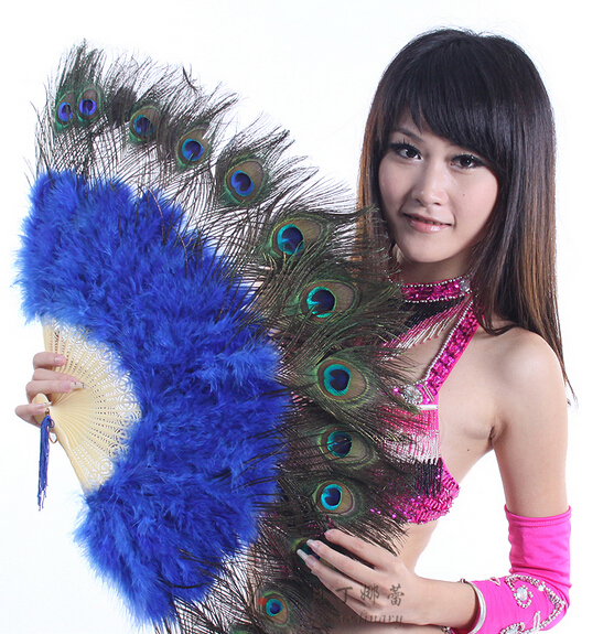 10 Colors High Quality Stage Performance Props Feather Folding Hand Fans Belly Dance Peacock Feathers Dance Fan(China (Mainland))