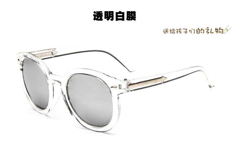 2015 new childrens sunglasses transparent frame colorful reflective mirror sunglasses children kids sun glasses