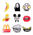 Japan Harajuku Acrylic Brooch Pin Ultraman Banana Chips Scrawl Sexy Lips Simpson Fashion Jewelry Accessory 2016