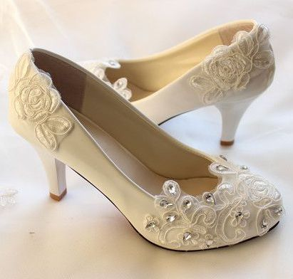 Rhinestones lace wedding shoes white low high custom madehandmade bridal bridesmaids dress party proms shoes quick shipping<br><br>Aliexpress