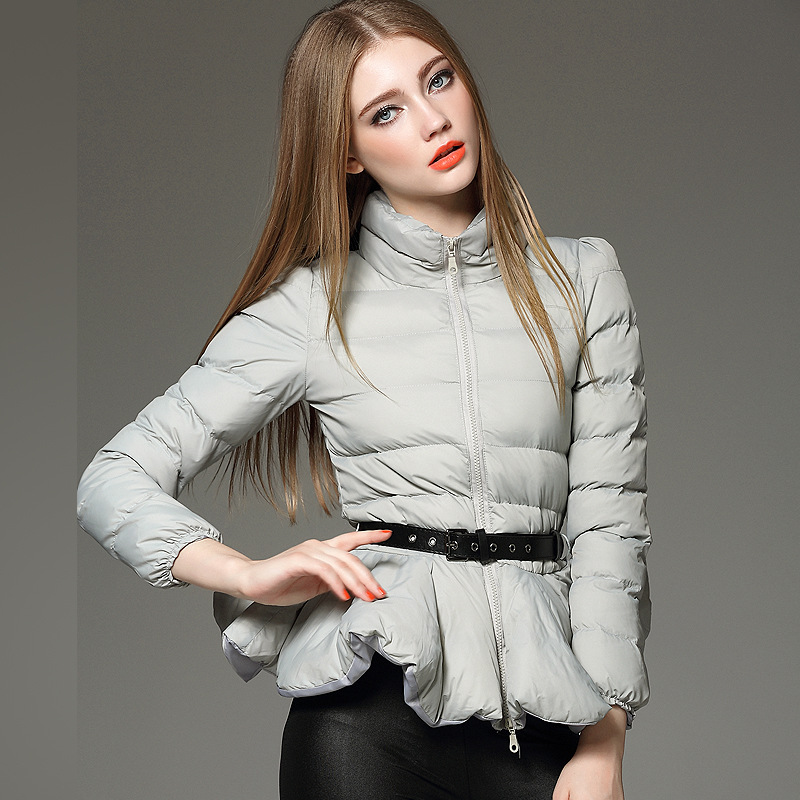 2015 winter  cotton jacket with stand collar ruffled hem self belt long sleeves womens warm cotton wear women winter jacketОдежда и ак�е��уары<br><br><br>Aliexpress