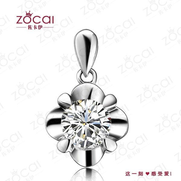 ZOCAI FLOWER 0.26 CT I-J / VS DIAMOND Pendant Diamond 18K WHITE Gold PENDANTS + 925 STERLING SILVER CHAIN Necklace FREE SHPPING