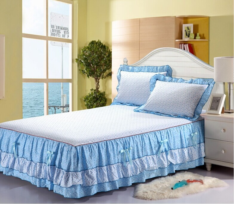 100 Cotton Double Layer Bed Skirt Fitted Combination Bed