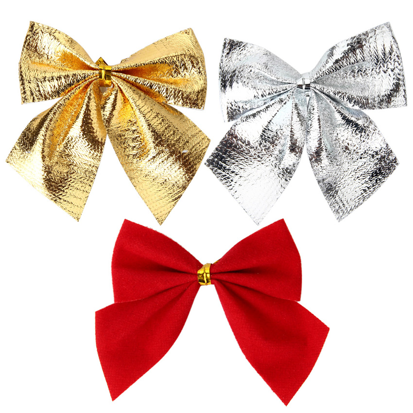 Lovely Hot Sale Christmas Tree Ornaments Decoration Bowknot Christmas Decorations Gold Red Silver For Trees Artigos De Natal(China (Mainland))