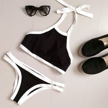 Summer Tank Top Halter Tankini Sexy Bikini 2016 Colorblock Bathing Suit 2 pcs Swimming Suit For Women Bikinis Swimwear Biquini