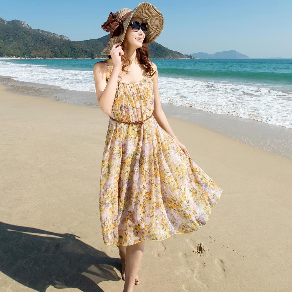 Jerry 2015 summer women Bohemian beach dress Floral chiffon round neck sleeveless dress Spaghetti Strap High Waist maxi dress(China (Mainland))