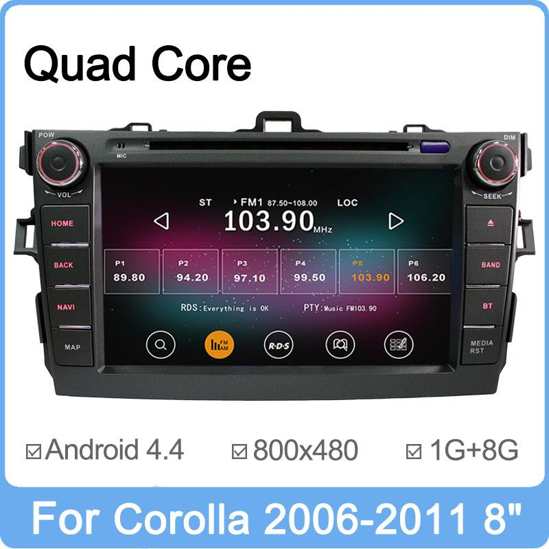Free Shipping Pure Android 4.4 Quad Core 1.6GHz Car DVD Player For Toyota Corolla 2007 2008 2009 2010 2011 GPS Radio Cortex A9(China (Mainland))