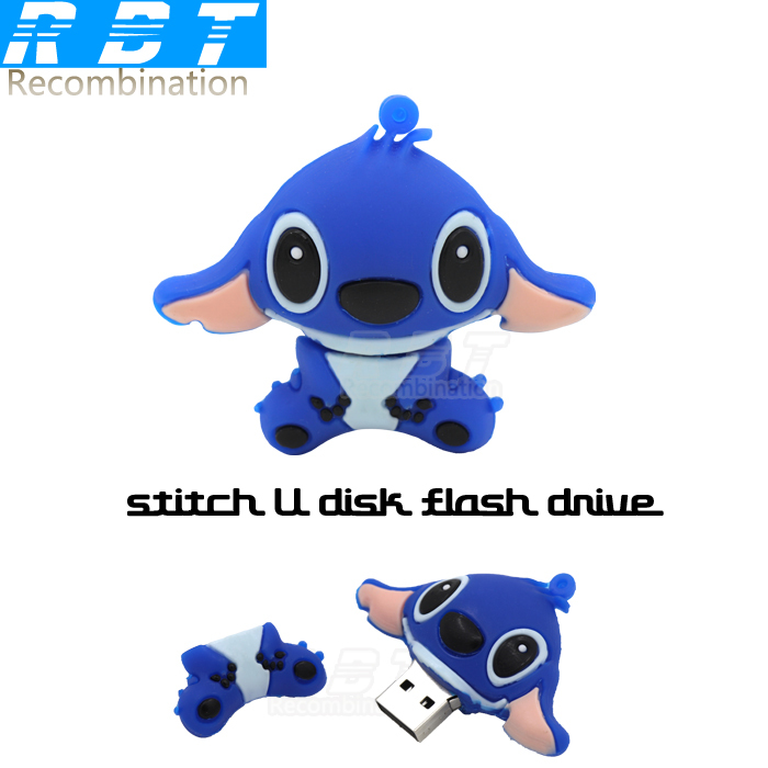 2015new RBT hot sell cartoon blue Stitch usb flash drive 8GB16GB 32GB pen drive for computer free shipping pen drives cure gift(China (Mainland))