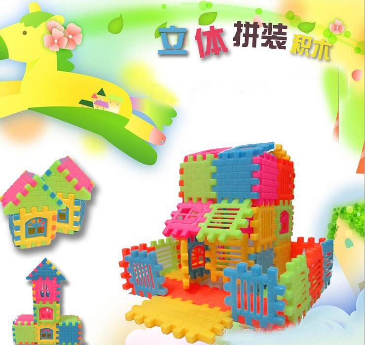 44pcs/set New Brand Hot Sale Baby Kid Children House Building Blocks Construction Developmental Toy Set Brain Game(China (Mainland))