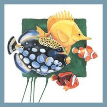 Free shipping colorful aquarium fish picture cartoon animal print painting for home decoration on sale(China (Mainland))