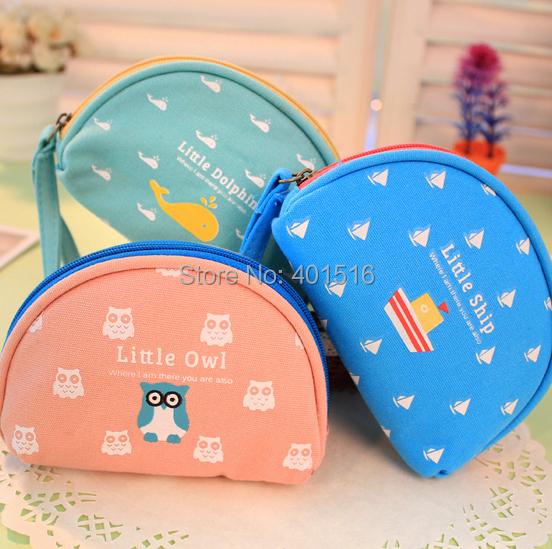 2014 New Korea Style Canvas Oval Cute Happy Family  Purse / Coin Bag