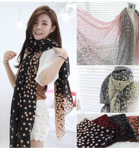 The new gradient size dot voile scarf long scarf shawl wild(China (Mainland))