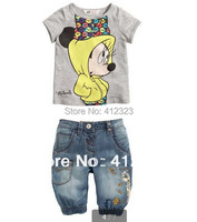 children boys cartoon clothing sets for summer baby custom short sleeve t shirt jeans pant suit set kids clothes set