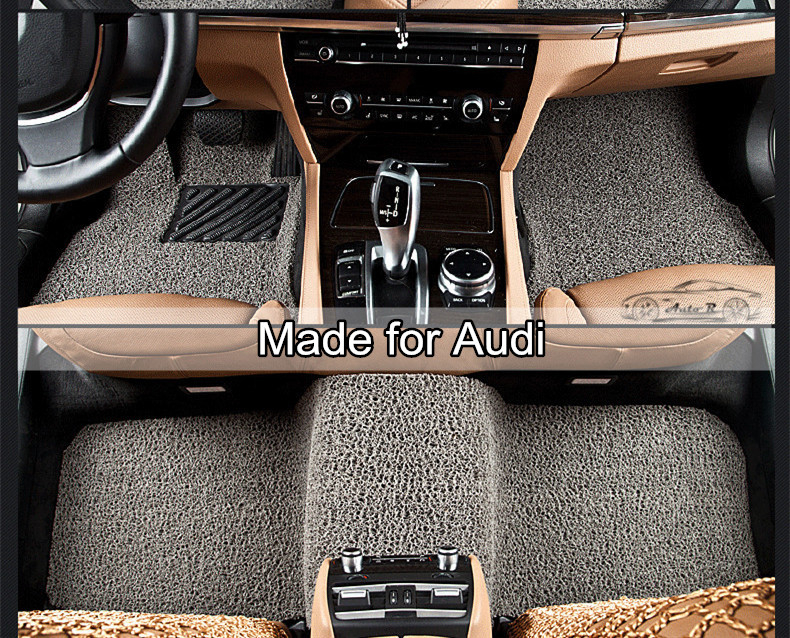 PVC Coil Car Floor Mats for Audi A1 A3 A4 A6 A7 A8 Q3 Q7 Q5 car carpet all weather floor liner soft car rugs 129d(China (Mainland))