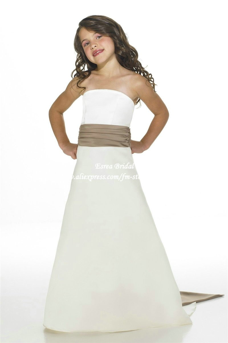 Simple cheap white junior bridesmaid dress gown strapless for Simple white strapless wedding dress