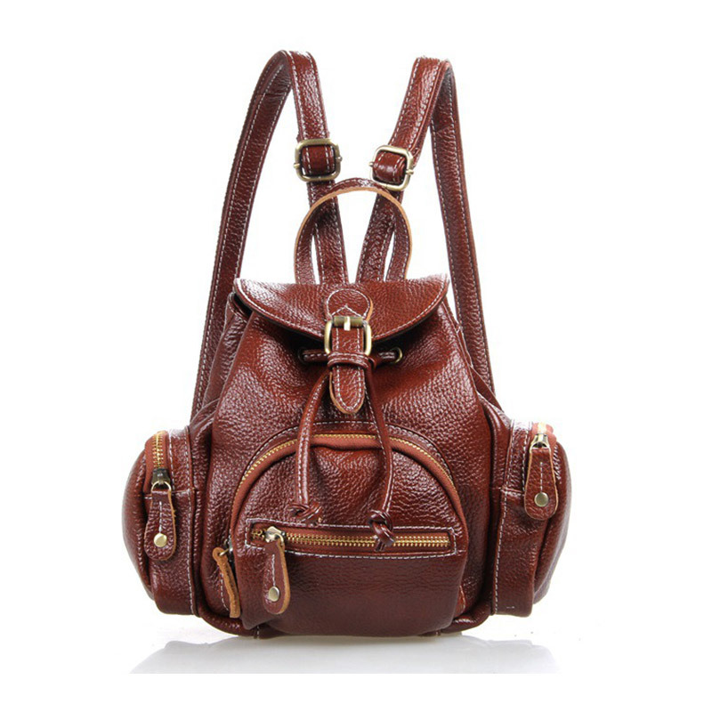 Vintage Cowhide Women's Backpack Genuine Leather  Fashion Day Backpack for Women Ladies Satchel Bag