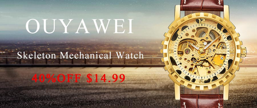 2016 Newest OUYAWEI skeleton watch Top Brand Luxurygold watch for women leather Mechanical Wristwatches relogio feminino dourado