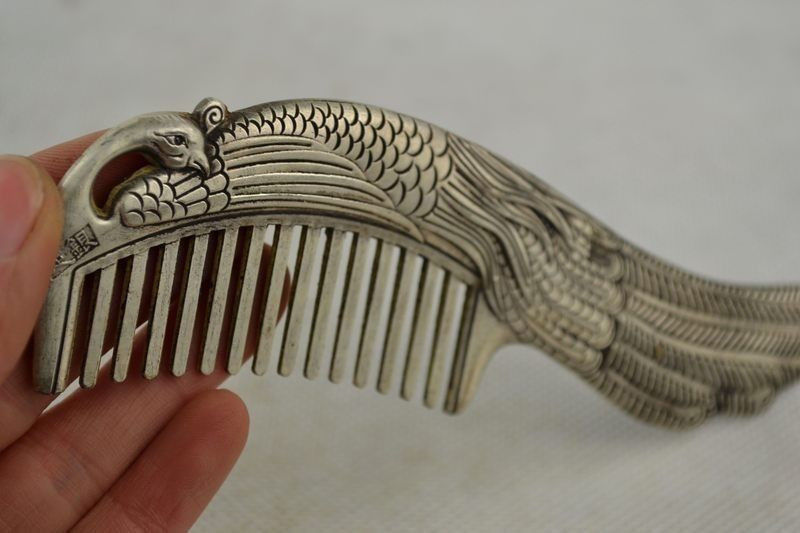 Collectible China - Miao silver hand carved peacock rare lucky comb(China (Mainland))